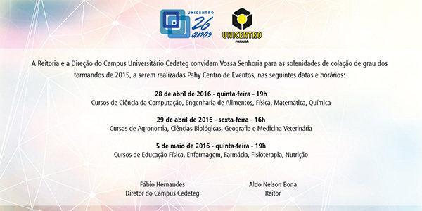 Colação de grau Seaa/Campus Cedeteg @ Pahy Centro de Eventos   Guarapuava   Paraná   Brasil