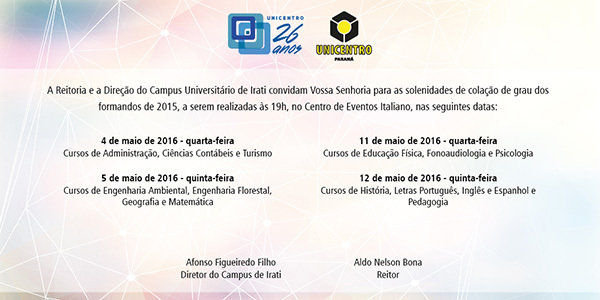 Colação de grau Sesa/Campus de Irati @ Centro de Eventos Italiano   Irati   Paraná   Brasil